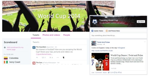 Facebook and Twitter both released World Cup 2014 pages